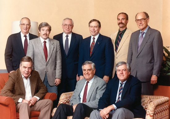 ASBI's Founding Members — A Moment in History Standing (left to right): W. Burr Bennett Jr., consultant; Robert P. McCrossen, material supplier; Clifford L. Freyermuth; Eugene C. Figg Jr., consultant; Raymond Schmahl, contractor; Juergen L. Plaehn, material supplier;  Seated (left to right) David T. Swanson, material supplier;  W. Jack Wilkes, consultant; and Gary L. Peters, contractor.